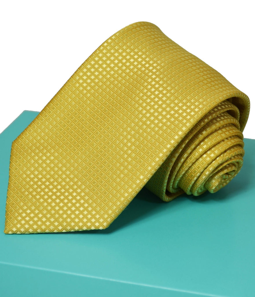 Extra Long Mimosa Yellow Men's Tie with Microchecks BerlinBound Ties - Paul Malone.com