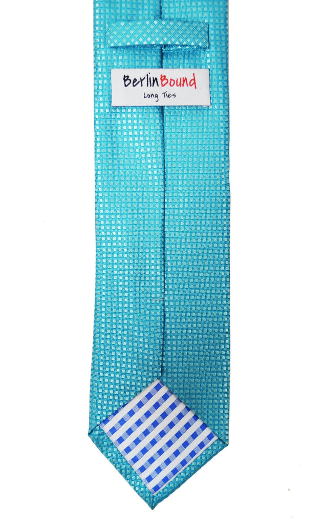Extra Long Angel Blue Men's Tie with Microchecks BerlinBound Ties - Paul Malone.com