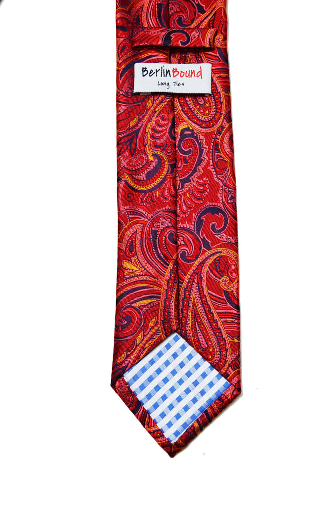 Extra Long Fire Red Paisley Men's Tie BerlinBound Ties - Paul Malone.com