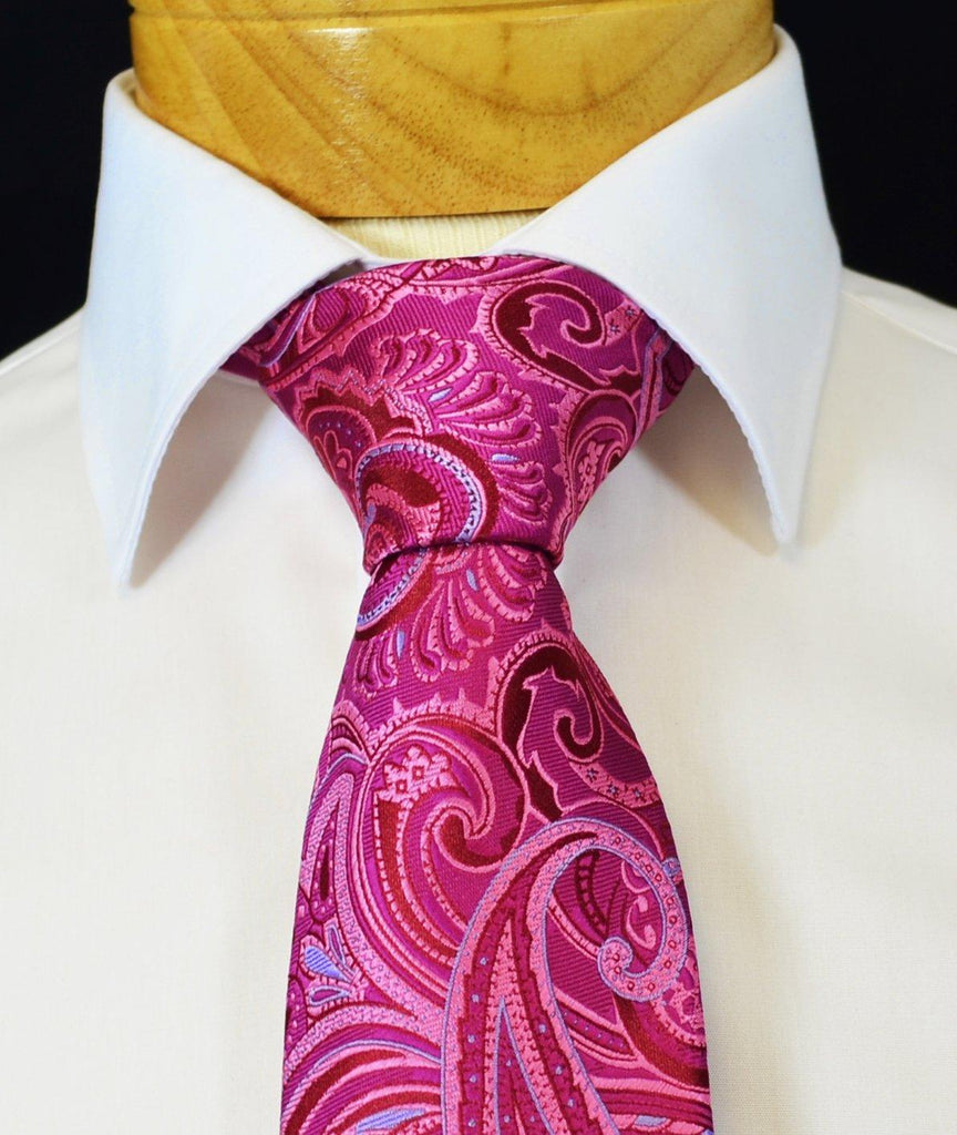 Extra Long Pink and Blue Paisley Men's Tie BerlinBound Ties - Paul Malone.com