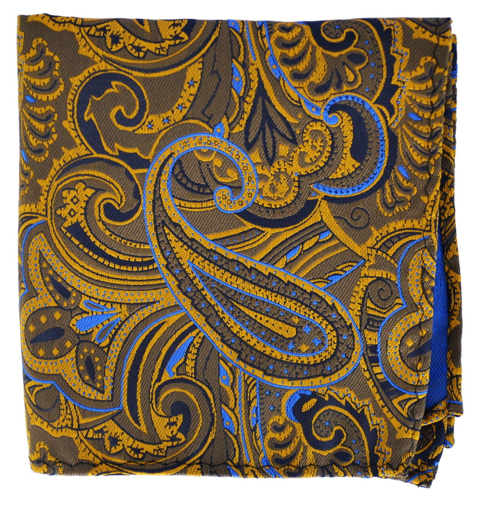 Extra Long Gold, Tan and Blue Paisley Men's Tie BerlinBound Ties - Paul Malone.com