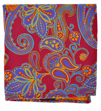 Red, Blue and Orange Paisley Men's Pocket Square BerlinBound Pocket Square - Paul Malone.com
