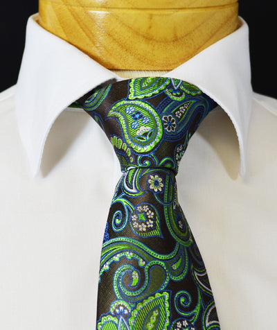 Extra Long Black, Aspen Green and Brown Paisley Men's Tie BerlinBound Ties - Paul Malone.com