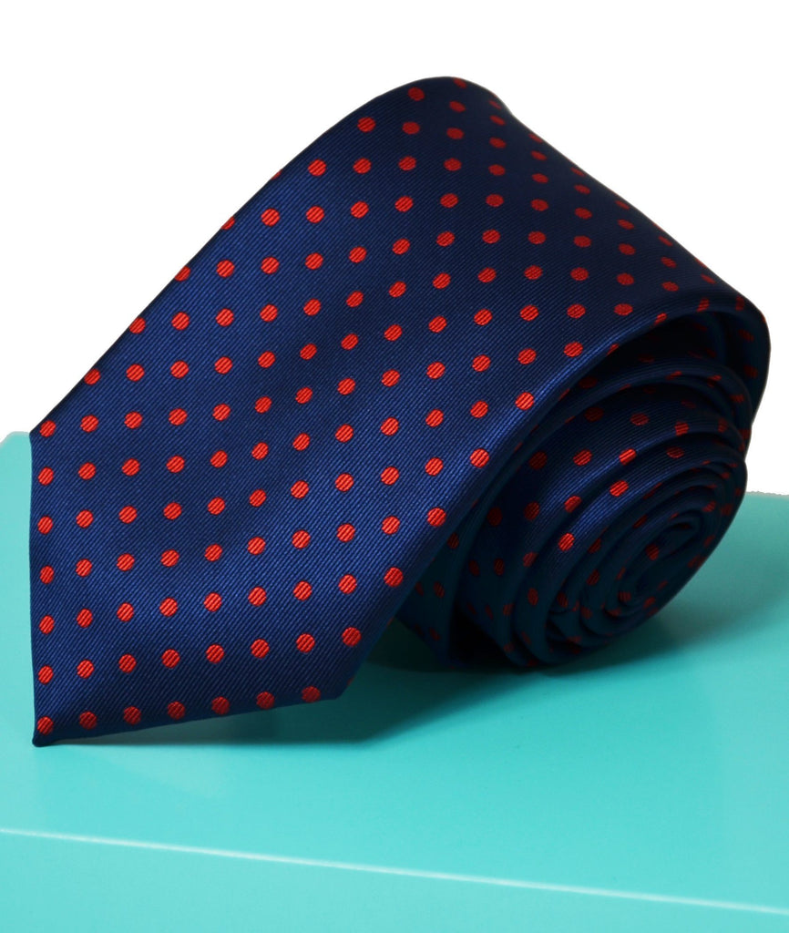 Extra Long Navy and Red Polka Dots Tie BerlinBound Ties - Paul Malone.com