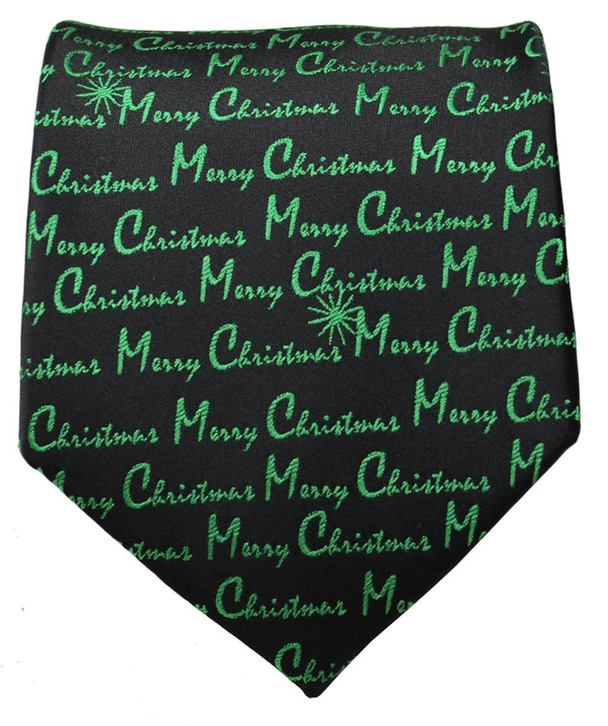 Green on Black Merry Christmas Tie Paul Malone Ties - Paul Malone.com