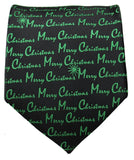 Green on Black Merry Christmas Tie