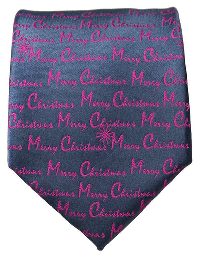 Pink on Grey Merry Christmas Tie Paul Malone Ties - Paul Malone.com