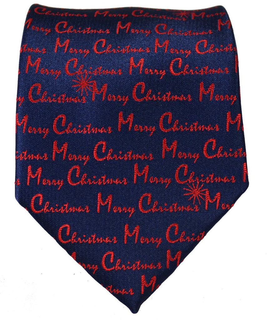 Red on Blue Merry Christmas Tie