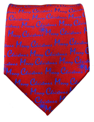Royal Blue on Red Merry Christmas Tie Paul Malone Ties - Paul Malone.com