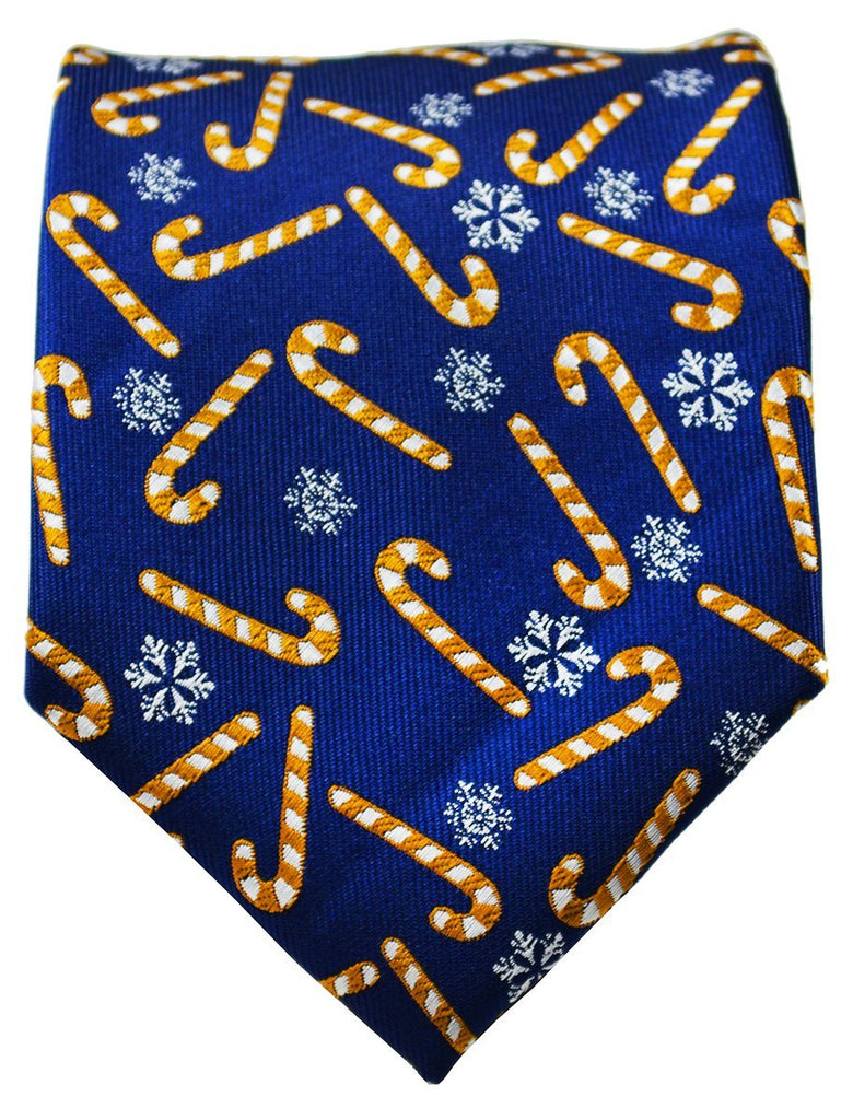 Gold and Blue Candy Cane Holiday Tie Paul Malone Ties - Paul Malone.com