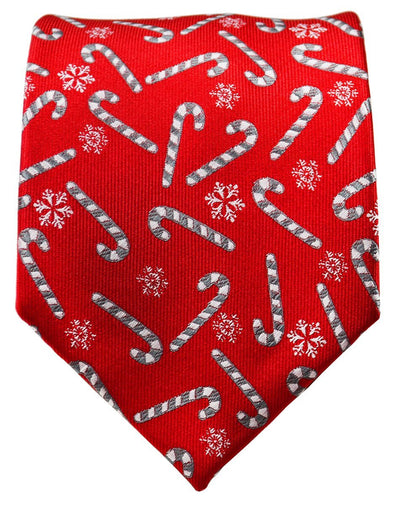 Red and Grey Candy Cane Holiday Tie Paul Malone Ties - Paul Malone.com