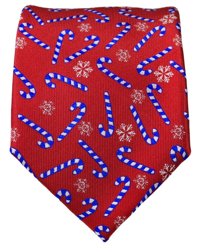 Red and Blue Candy Cane Holiday Tie Paul Malone Ties - Paul Malone.com