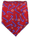 Red and Blue Candy Cane Holiday Tie Ties Paul Malone
