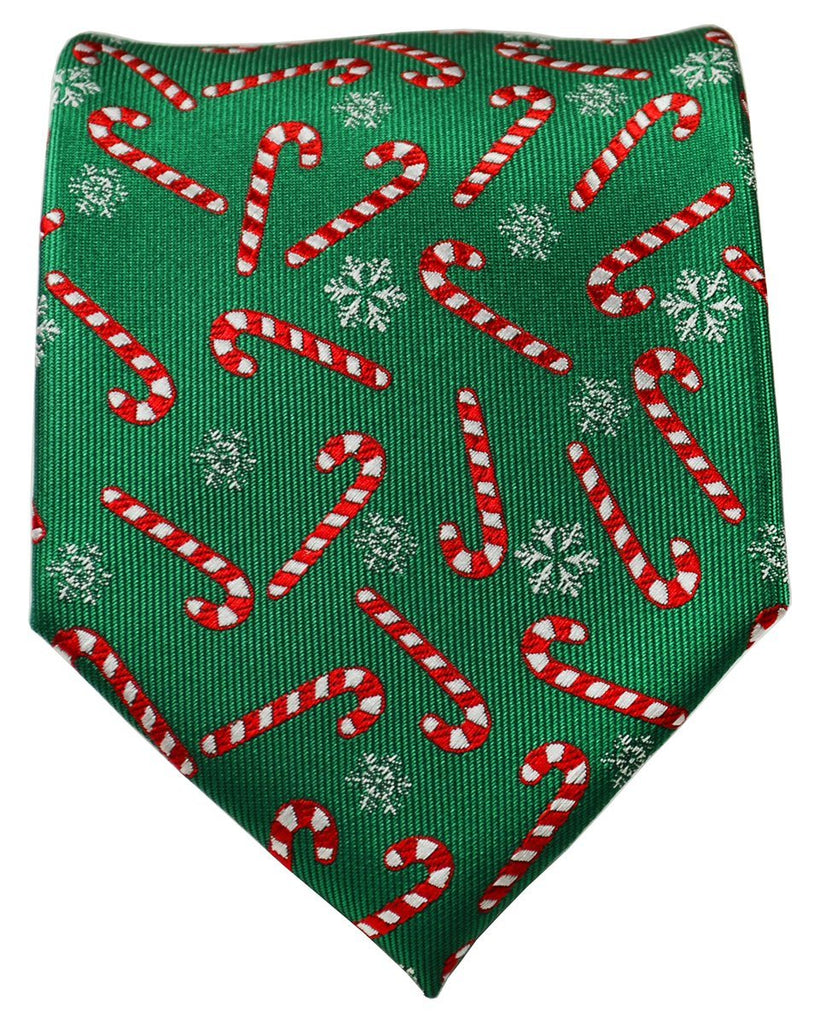 Green and Red Candy Cane Holiday Tie Ties Paul Malone
