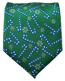 Green and Blue Candy Cane Holiday Tie Paul Malone Ties - Paul Malone.com