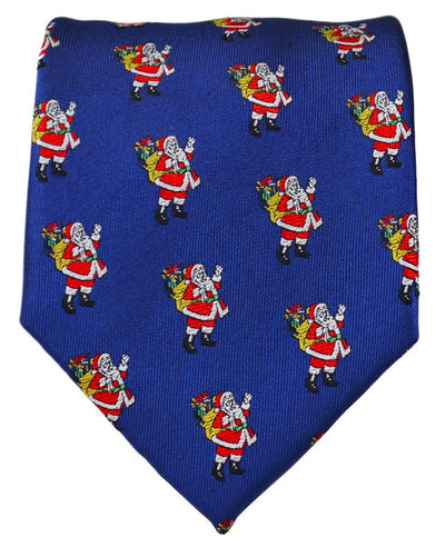 Blue Paul Malone Santa Claus Holiday Tie Paul Malone Ties - Paul Malone.com