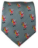 Grey Santa Claus Holiday Tie Paul Malone Ties - Paul Malone.com