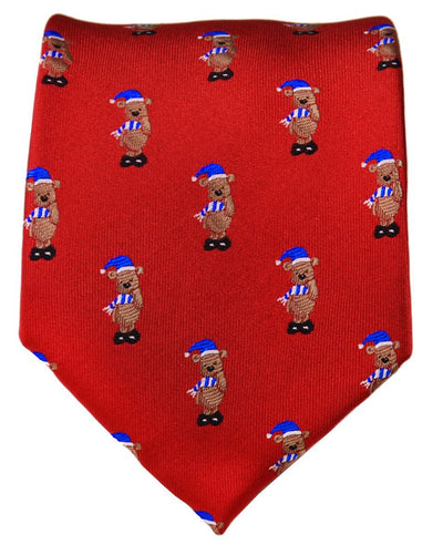 Stunning Red Holiday Bear Necktie Paul Malone Ties - Paul Malone.com