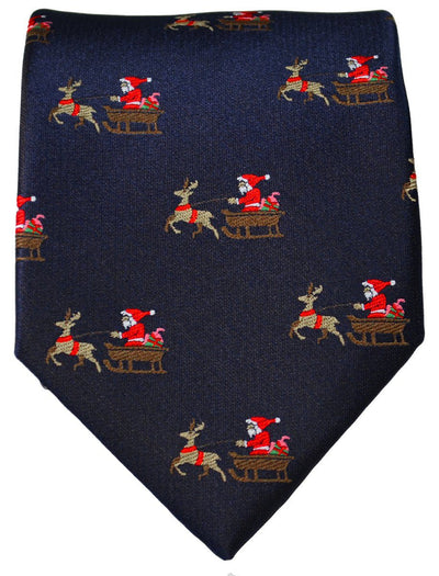 Navy Blue Reindeer Holiday Tie Paul Malone Ties - Paul Malone.com