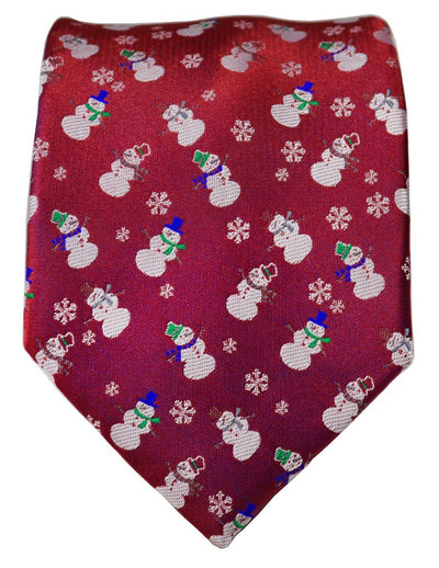 True Red Paul Malone Snowman Holiday Tie Paul Malone Ties - Paul Malone.com