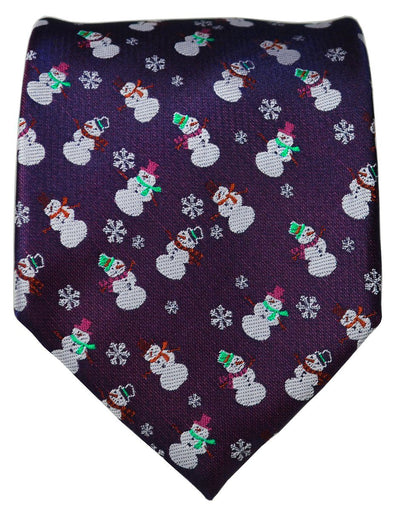 Navy Blue Two-Tone Paul Malone Snowman Holiday Tie Paul Malone Ties - Paul Malone.com