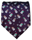 Navy Blue Two-Tone Paul Malone Snowman Holiday Tie