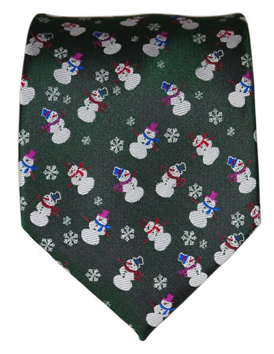 Slate Grey Paul Malone Snowman Holiday Tie Paul Malone Ties - Paul Malone.com