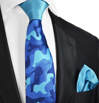 Blue Camouflage Contrast Knot Tie Set by Paul Malone Paul Malone Ties - Paul Malone.com