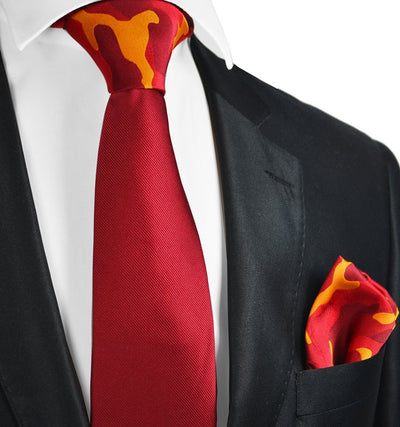 Solid Red Contrast Knot Tie Set by Paul Malone Paul Malone Ties - Paul Malone.com