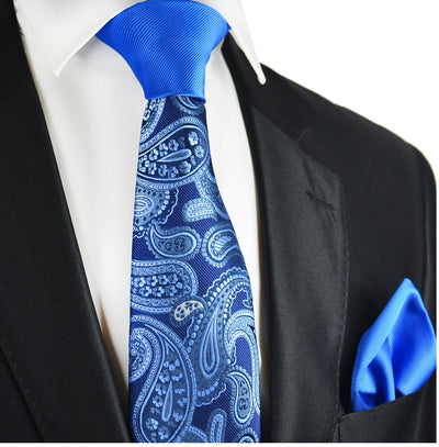 Blue Paisley Contrast Knot Tie Set by Paul Malone Paul Malone Ties - Paul Malone.com