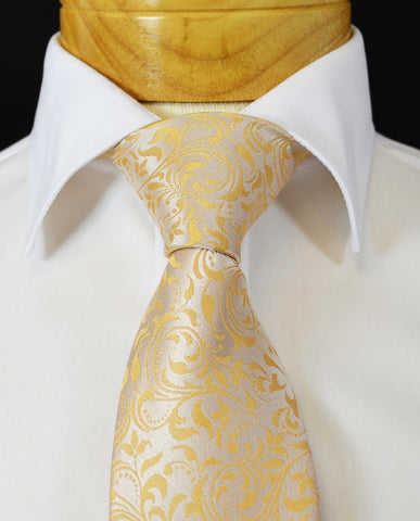 Extra Long Gold, Tan and Blue Paisley Men's Tie