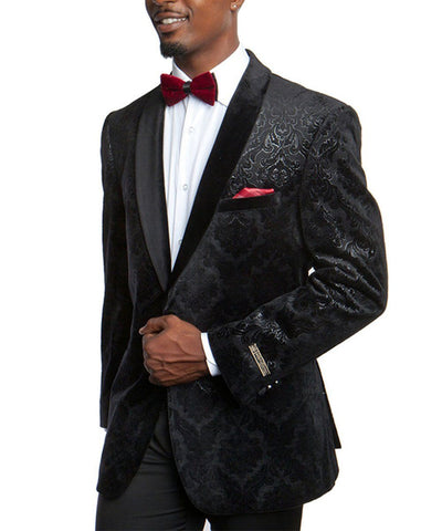 Black Patterned Formal Empire Jacket Empire Suits - Paul Malone.com