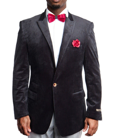 1 Button Velvet Pin Stripe Jacket Empire Suits - Paul Malone.com