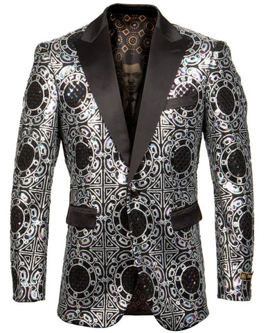 Silver Patterned Slim Fit Empire Jacket Empire Suits - Paul Malone.com