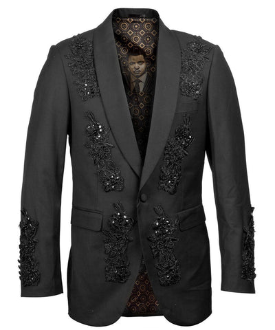 Black Patterned Slim Fit Empire Sports Coat Empire Suits - Paul Malone.com