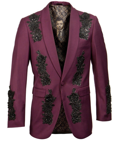 Burgundy Patterned Slim Fit Empire Sports Coat Empire Suits - Paul Malone.com