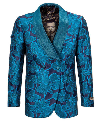 Turquoise Floral Empire Blazer Empire Suits - Paul Malone.com