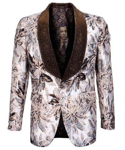 Tan Floral Slim Fit Empire Sports Coat Empire Suits - Paul Malone.com