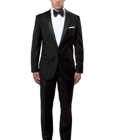 Black Slim Men's Tuxedo Suit Bryan Michaels Suits - Paul Malone.com