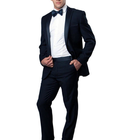 Navy Slim Men's Tuxedo Suit Bryan Michaels Suits - Paul Malone.com