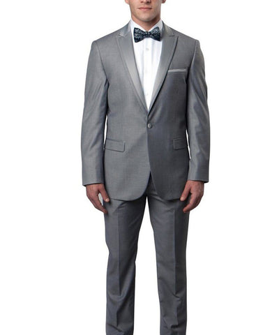 Grey Slim Men's Tuxedo Suit Bryan Michaels Suits - Paul Malone.com
