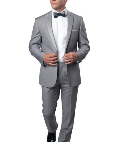 Light Grey Slim Men's Tuxedo Suit Bryan Michaels Suits - Paul Malone.com