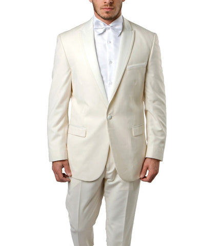 Ivory Slim Men's Tuxedo Suit Bryan Michaels Suits - Paul Malone.com
