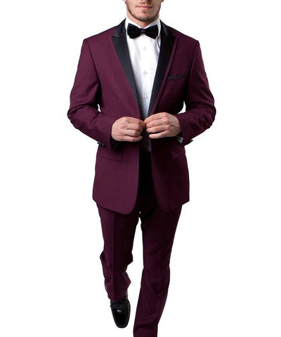 Burgundy Slim Men's Tuxedo Suit Bryan Michaels Suits - Paul Malone.com