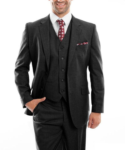 Black 3-piece Wool Suit with Vest Zegarie Suits - Paul Malone.com