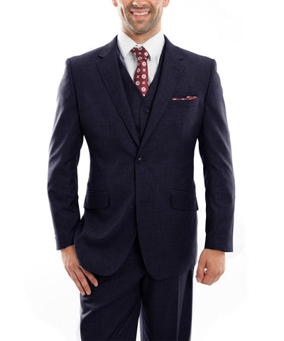 Navy 3-piece Wool Suit with Vest Zegarie Suits - Paul Malone.com
