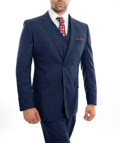 Indigo Blue 3-piece Wool Suit with Vest Zegarie Suits - Paul Malone.com