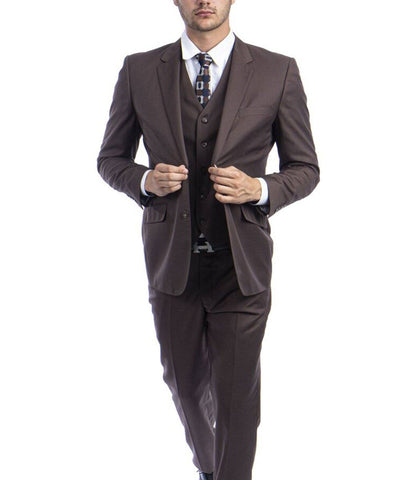 Cocoa Brown 3-piece Wool Suit with Vest Zegarie Suits - Paul Malone.com