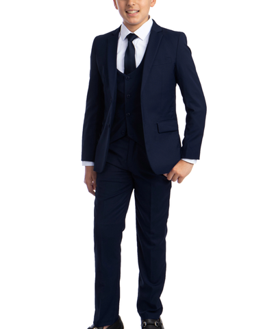 Solid Navy Blue Boys Suit Set with Vest, Tie and Shirt Perry Ellis Suits - Paul Malone.com