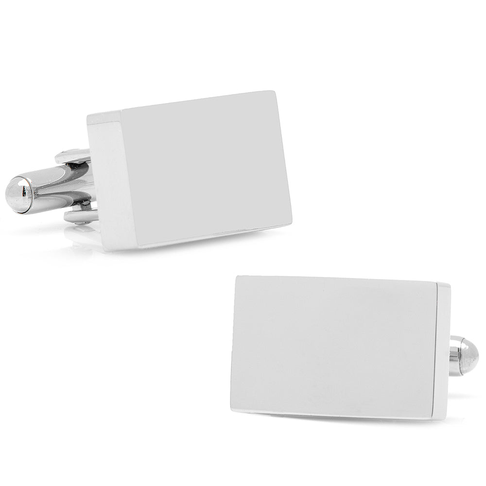Stainless Steel Silver Block Engravable Cufflinks Ox & Bull Cufflinks - Paul Malone.com